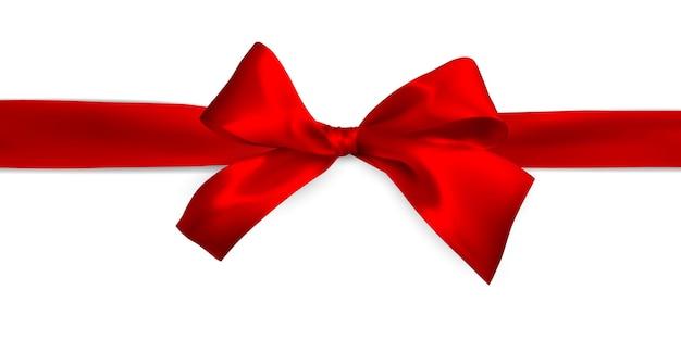 Laço vermelho realista com fitas vermelhas isoladas