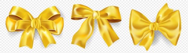 Laços de fitas realistas de ouro envolvendo a caixa de presente