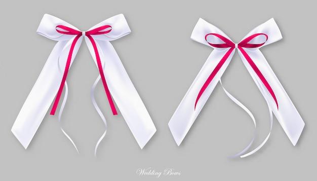 Laços de seda brancos vermelhos do casamento