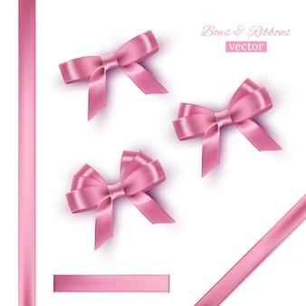 Laços e fitas cor de rosa.