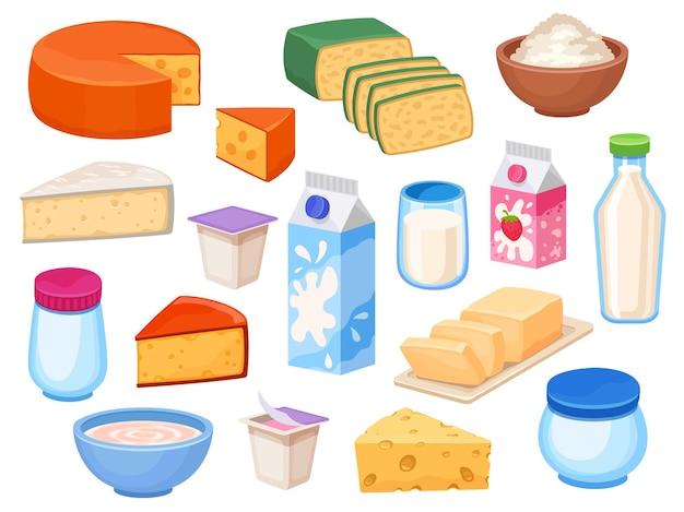 Lacticínios. fatias de queijo, leite em garrafa, caixa e copo, iogurte, manteiga, requeijão na tigela e natas. conjunto de vetores de alimentos lácteos da fazenda dos desenhos animados. ilustração de garrafa de leite lácteo e queijo no café da manhã