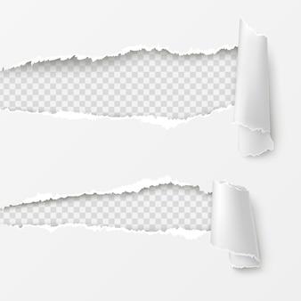Lacunas horizontais em fundo branco