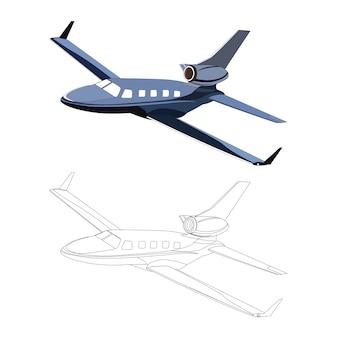Lado detalhado do avião de avião privado azul com opção de curso preto para livro de cores customizável