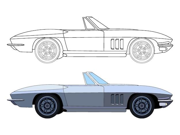 Lado detalhado do carro de sedan conversível azul para livro de cores customizável