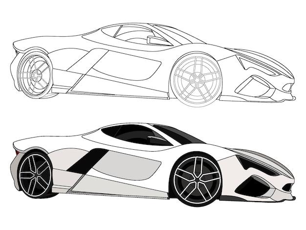 Lado detalhado do carro esporte branco com opção de traço preto para livro de cores customizável