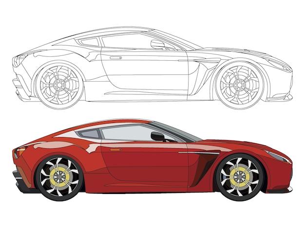 Lado detalhado do carro esportivo vermelho com opção de curso preto para livro de cores customizável