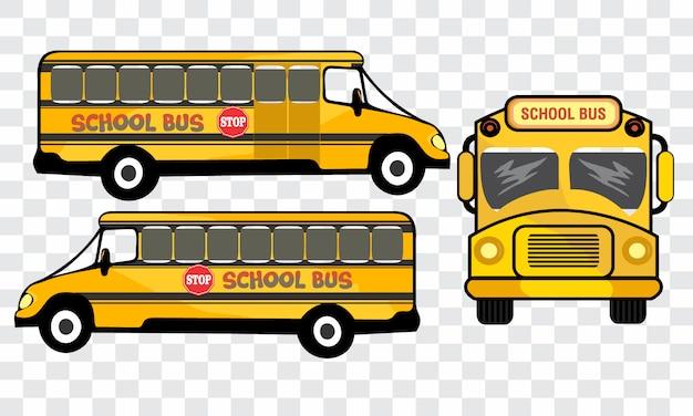 Lado diferente do veículo de ônibus escolar.