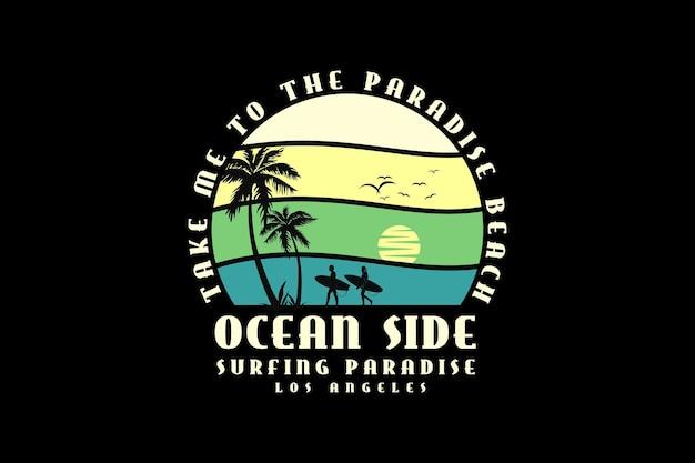 Lado do oceano, design de silhueta estilo retro