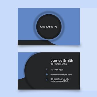 Lado duplo do layout do modelo de cartão de visita nas cores azul e preto.