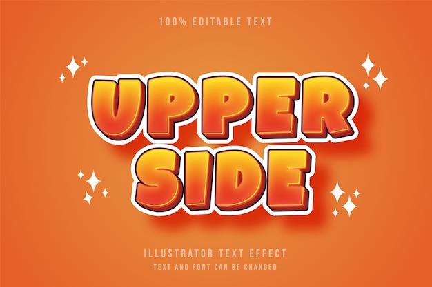 Lado superior, efeito de texto editável em 3d, gradação amarela laranja estilo cômico moderno