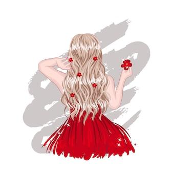 Lado traseiro da garota de cabelo loiro elegante bonito. moda feminina glamour em vestido vermelho