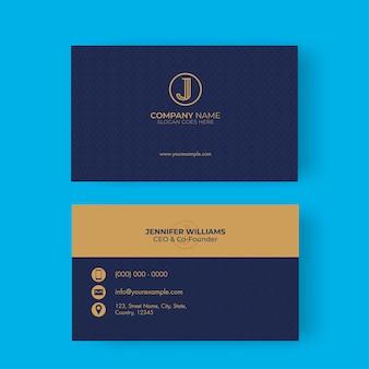 Lados duplos do design do cartão de visita isolado no azul
