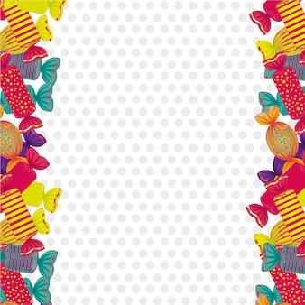 Lados pontilhada fundo cheio de doces coloridos