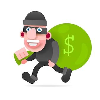 Ladrão com um saco de dinheiro correndo de acusação