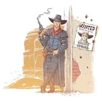 Ladrão com uma arma fumegante