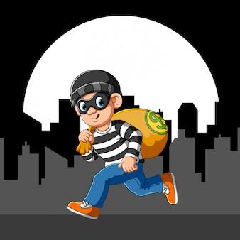 Ladrão correndo com máscara de olho