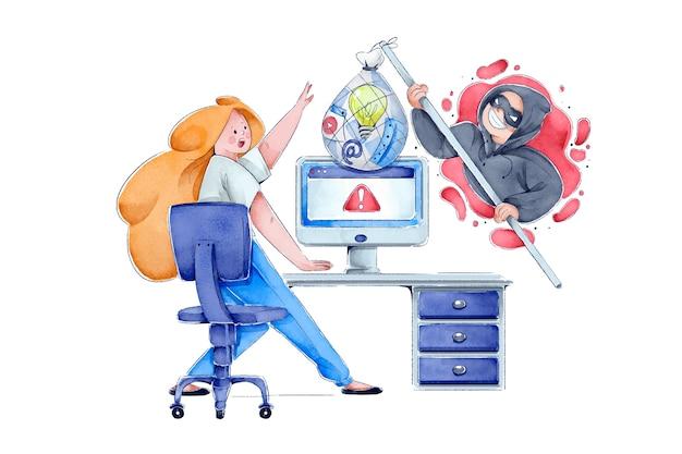 Ladrão da internet roubando idéias de mulher
