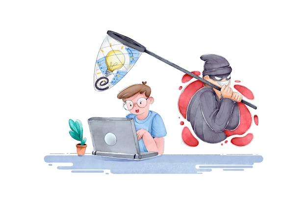 Ladrão da internet roubando idéias do homem
