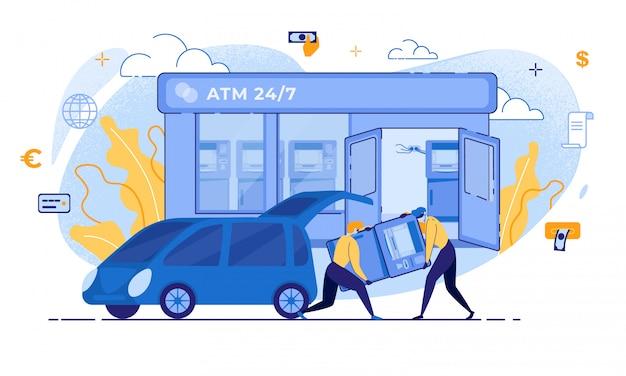 Ladrão de desenho animado levar atm para roubo de terminal de banco de carro