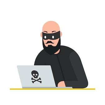 Ladrão de hackers com o laptop. ataque cibernético