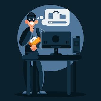Ladrão de tecnologia roubando dados nas sombras