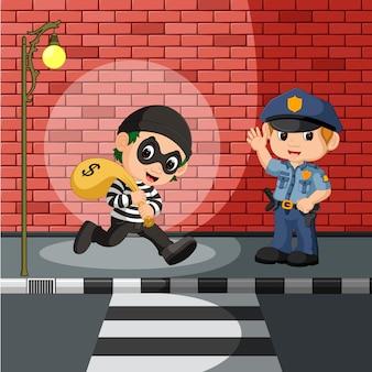 Ladrão e polícia dos desenhos animados