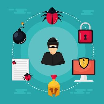 Ladrão e segurança cibernética ao redor