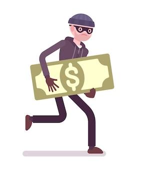 Ladrão em uma máscara preta roubou dinheiro e está fugindo