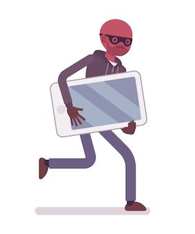 Ladrão em uma máscara preta roubou smartphone e está fugindo