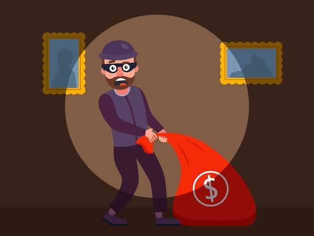 Ladrão foi pego em flagrante, os guardas detiveram o ladrão do apartamento.
