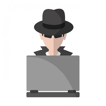 Ladrão hacker com avatar de laptop