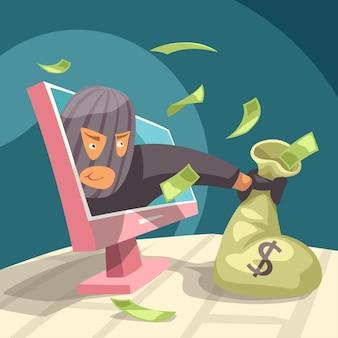 Ladrão moderno roubando dinheiro do seu pc
