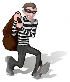 Ladrão na máscara carrega saco