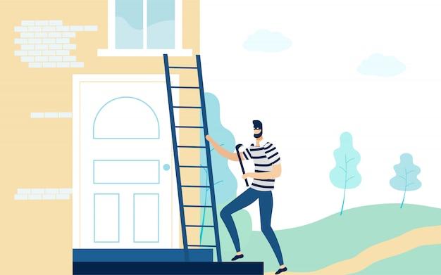 Ladrão na máscara segurando o pé de cabra, subindo escada.