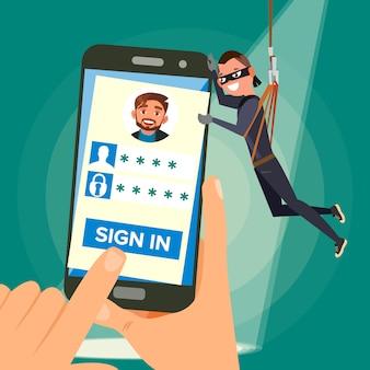 Ladrão roubando dados pessoais