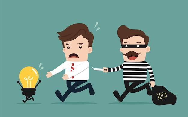 Ladrão roubando ideia