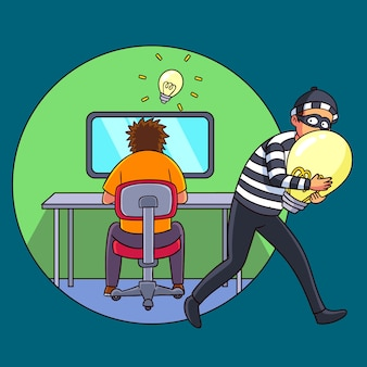 Ladrão roubando idéias de alguém