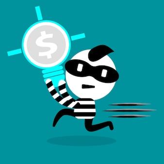 Ladrão roubando lâmpada e direito intelectual