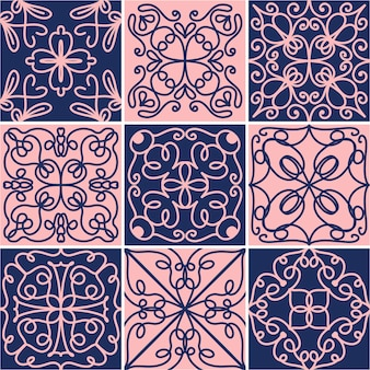 Ladrilhos de cerâmica vintage ornamentais