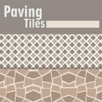 Ladrilhos de pavimentação abstratos e banner de decoração geométrica