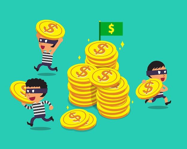 Ladrões de desenho animado com moedas grandes