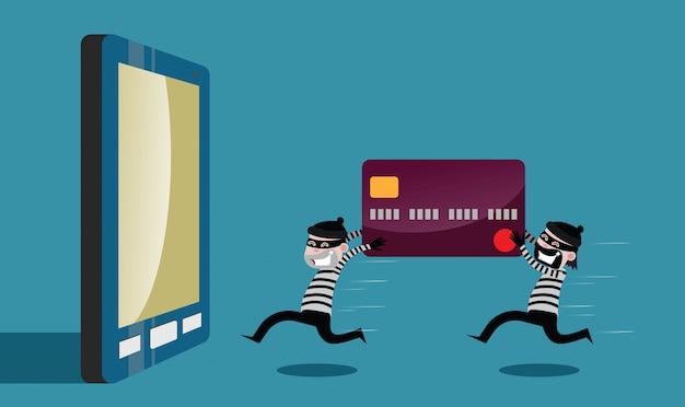 Ladrões executaram o roubo de cartão de crédito