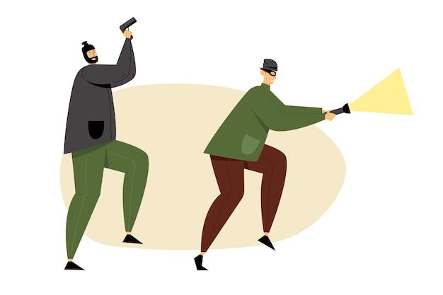 Ladrões mascarados, assaltantes ou ladrões segurando arma e lanterna brilhante