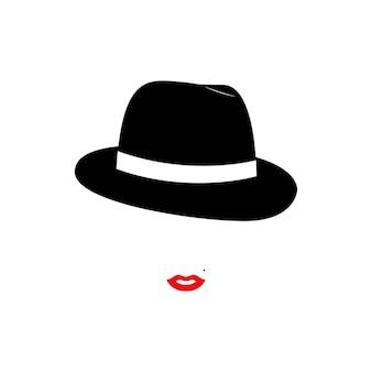 Lady fashion model mulher de chapéu