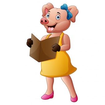 Lady porco em roupas lendo um livro