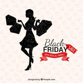 Lady shopping em um fundo preto de sexta-feira