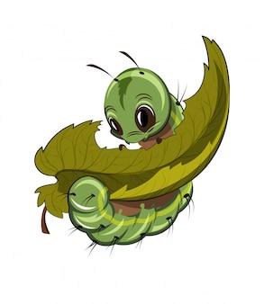 Lagarta, comer uma folha