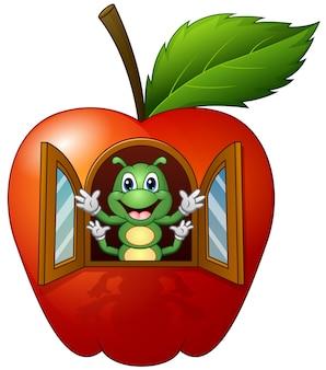 Lagarta dos desenhos animados na casa da apple