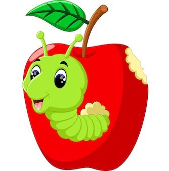 Lagartas engraçadas em uma maçã