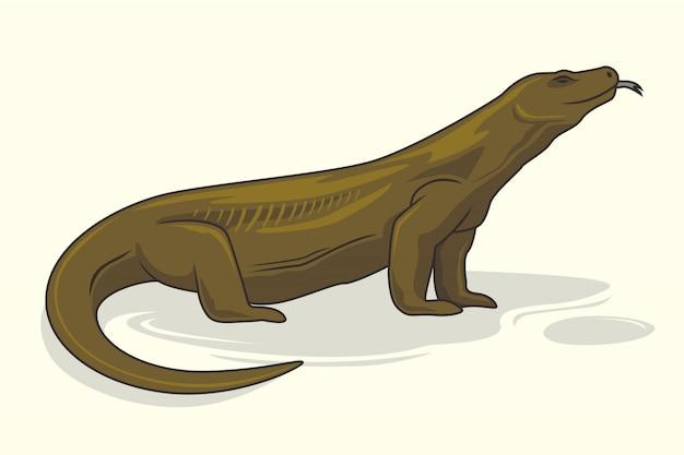 Lagarto dos animais dos desenhos animados do dragão de komodo